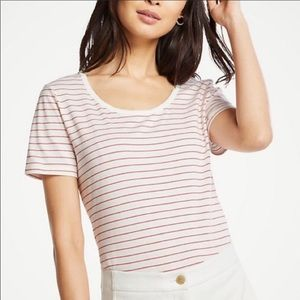 Ann Taylor Striped Scoop Neck Tee